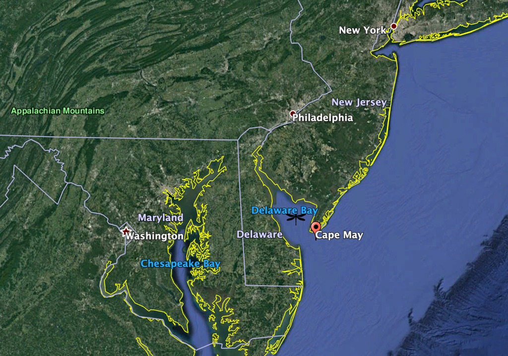 Map of Cape May, a stopover site for migrating dragonflies