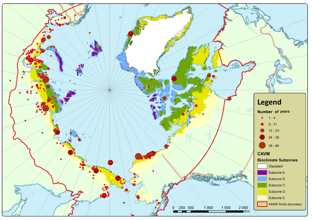 Map showing ecological field stations that observe arctic species.