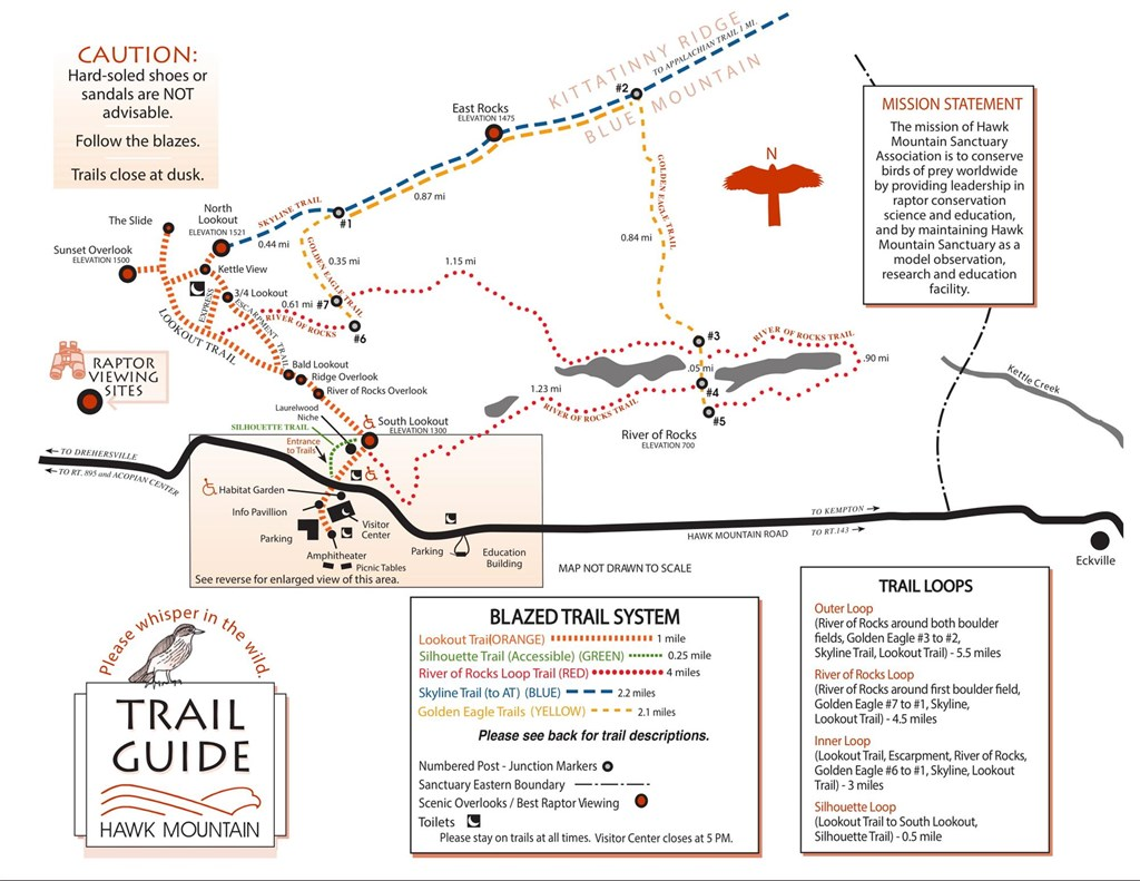 Map of Hawk Mountain's trail system