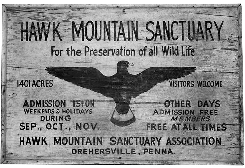 The original Hawk Mountain sign carved on wood.