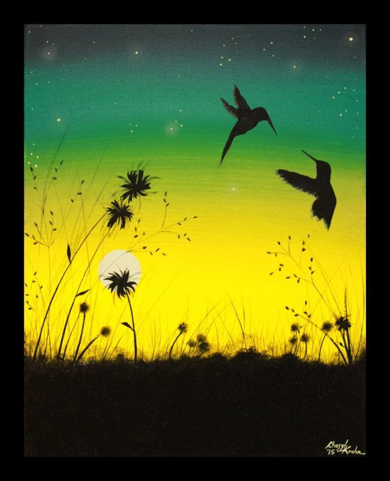 Painting of hummingbirds over a field