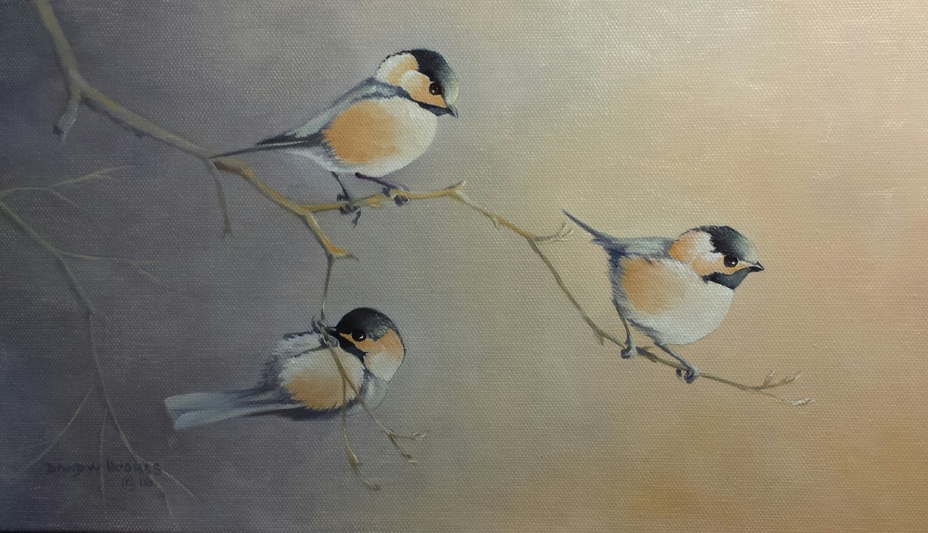 Nature Sketch of three birds perched on branches by Dave Hughes