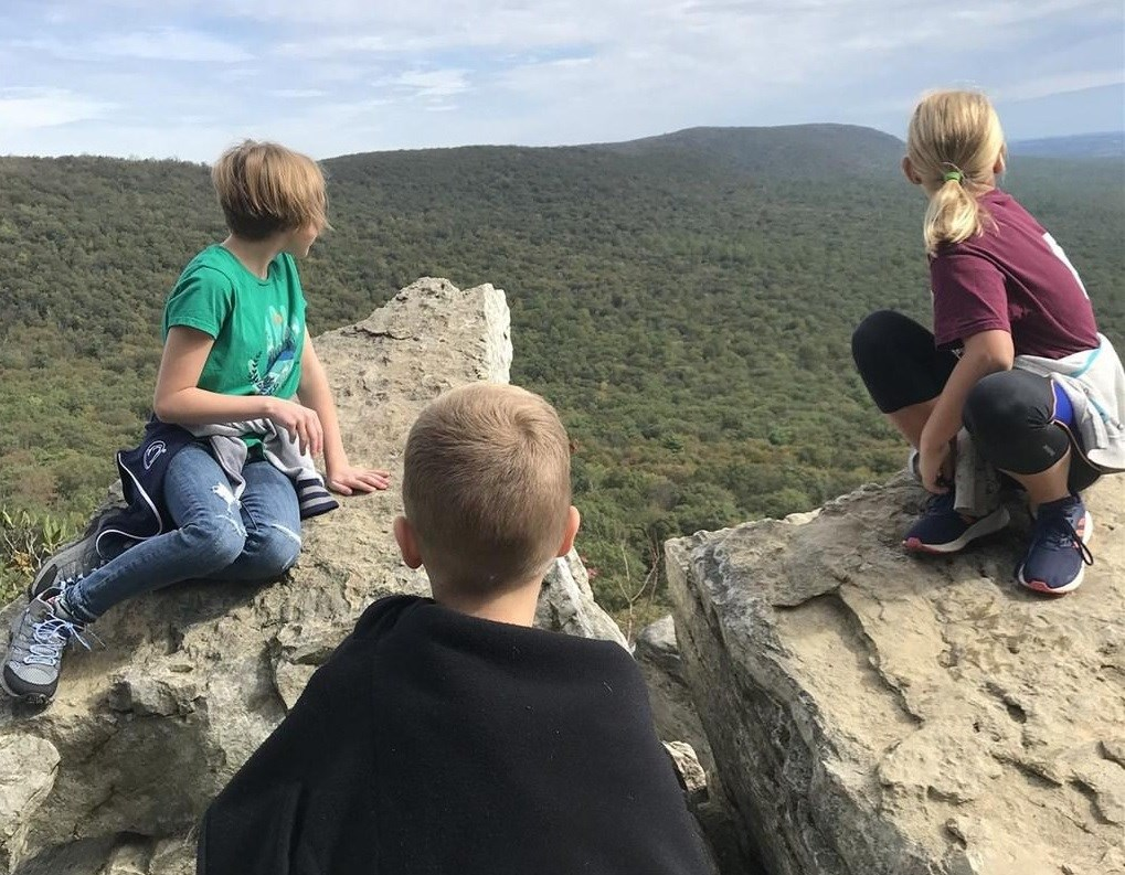 Young visitors enjoying the view from South Lookout.